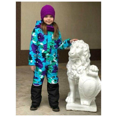 Зимний детский комбинезон Lapland для девочек мембрана Маковка размер 128, бирюза