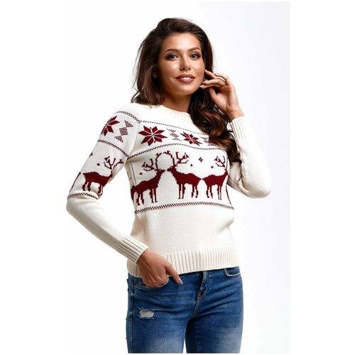 Шерстяной свитер, классический скандинавский орнамент с Оленями и снежинками, натуральная шерсть, молочный цвет, бордовый рисунок, размер M
