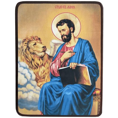 Икона Марк апостол, Евангелист со львом, размер 8,5 х 12,5 см