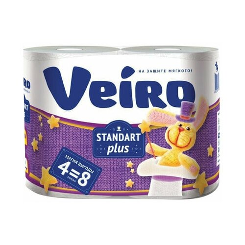 Бумага туалетная бытовая, спайка 4 шт., 2-х слойная (4х30 м), VEIRO Standart Plus, белая, 3с24 бумага туалетная бытовая спайка 4 шт 3 х слойная 4х17 5 м veiro luxoria вейро белая 5с34 3 шт