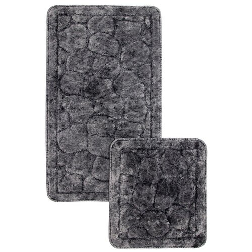 Набор ковр. для ванной комнаты Камушки,серый