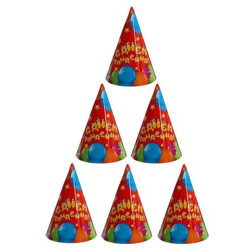 Страна Карнавалия Колпак С днём рождения, шарики (1506738) (6 шт.) красный
