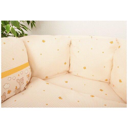 Фото - Постельное белье в кроватку Оленята 6 предметов с бортами-подушками комплекты в кроватку сонный гномик конфетти 6 предметов