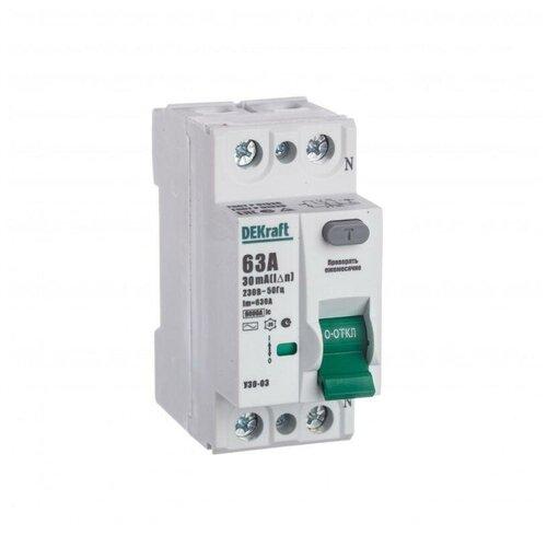 Выключатель дифференциального тока (УЗО) 2п 63А 30мА тип AC 6кА УЗО-03 SchE 14057DEK