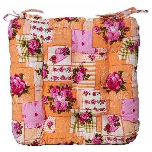 Подушка на стул из рогожки и поролоновой крошки, 40х40 см, оранжевая