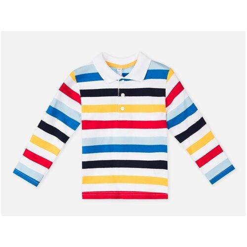 Фото - Поло playToday, размер 74, белый/красный/синий песочник playtoday размер 74 белый голубой синий