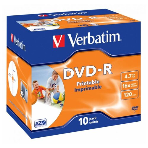Диск DVD-R Verbatim 4.7Gb 16x Jewel case (10 штук), Printable (43521)