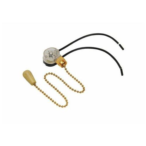 Выключатель для настенного светильника c проводом и деревянным наконечником Gold REXANT