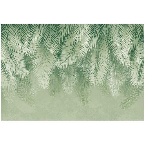 Фотообои Пальмовые листья в зеленых тонах / Красивые уютные обои на стену в интерьер комнаты/ 3Д расширяющие пространство/ На кухню в спальню детскую зал гостиную прихожую/ размер 400х270см/ Флизелиновые
