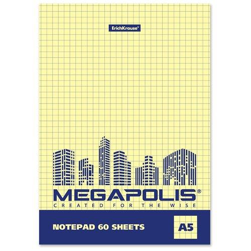 Купить ErichKrause Блокнот на клею MEGAPOLIS Yellow Concept А5 ( 148х210 мм) 60 лклетка желтый внутренний блок 49800 6 шт., Блокноты и записные книжки