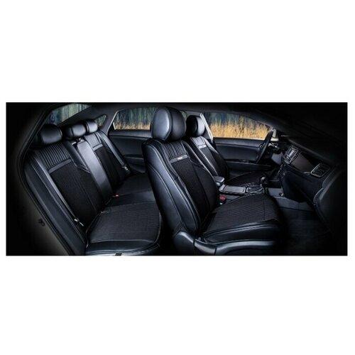 Комплект накидок на автомобильные сиденья CarFashion ARSENAL PLUS черный/черный