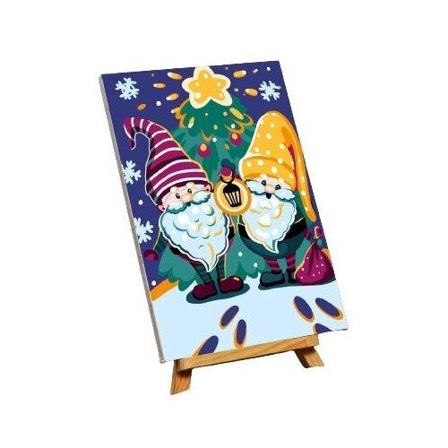Картина по номерам на холсте с подрамником «Гномики» 20×30 см
