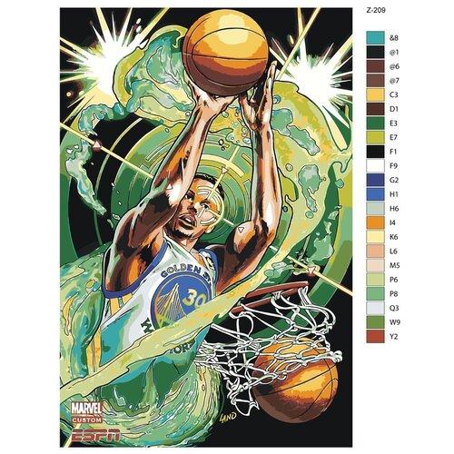 Картина по номерам «Баскетболист Стефен Карри. Golden State Warriors» 40х60 см (Z-209)