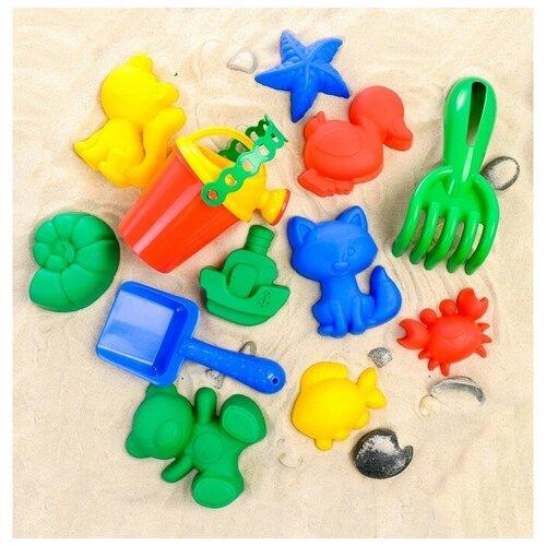 Соломон Набор для игры в песке, 6 формочек, совок, лейка, грабли, цвета микс
