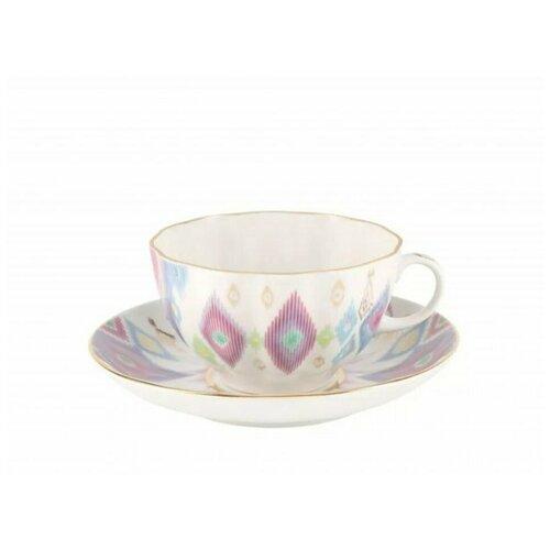 Чашка чайная с блюдцем. Императорский фарфоровый завод. Форма Тюльпан. Рисунок Перо павлина. сервиз чайный императорский фарфоровый завод форма тюльпан рисунок перо павлина 14 предметов