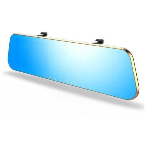 Видеорегистратор Vehicle Blackbox Car DVR Mirror Full HD зеркало с камерой заднего вида (2 камеры) золотой