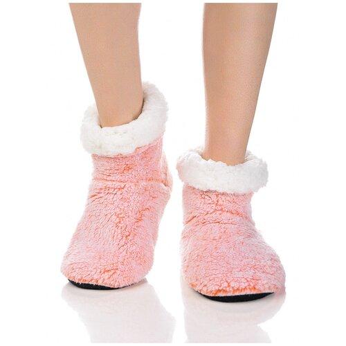 Плюшевые носки домашние, окраска меланж, противоскользящая подошва, внутренний подклад из искусственного меха, красный-белый цвет, размер 36-38