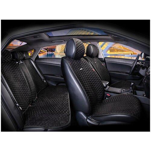 Комплект накидок на автомобильные сиденья CarFashion CAPRI PRO PLUS черный/черный/т.серый