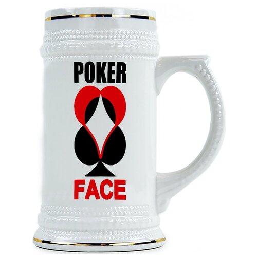 Пивная кружка Poker face , Покер фэйс