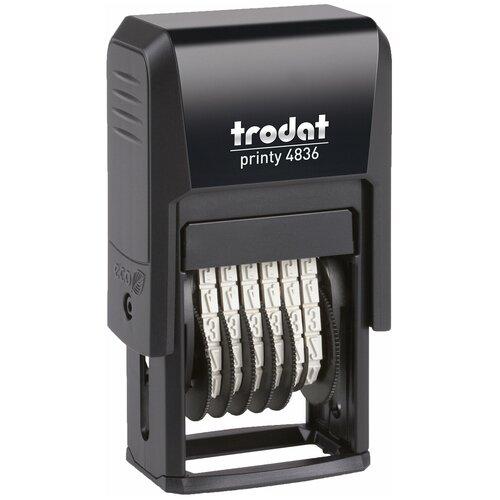 Фото - Нумератор 6-разрядный, оттиск 15х3,8 мм, синий, TRODAT 4836, корпус черный, 53199 нумератор trodat 4836 printy черный