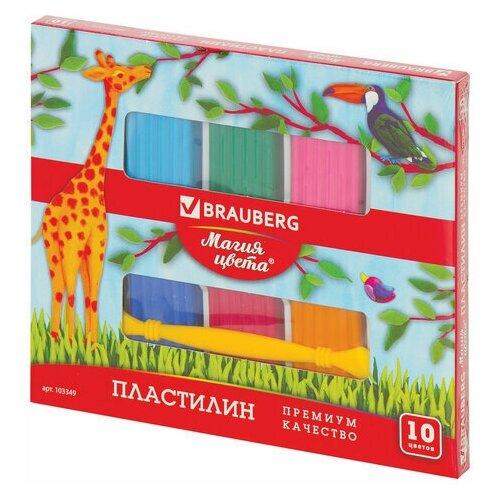 Фото - Пластилин классический BRAUBERG магия цвета, 10 цветов, 250 г, со стеком, высшее качество, 103349 набор пластилина brauberg классический 10 цветов 103349
