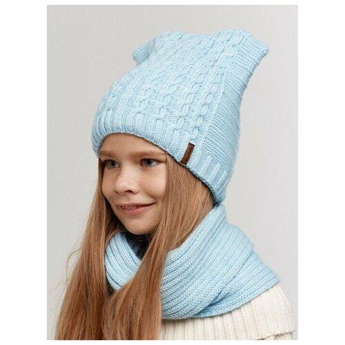 Детская шапка с ушками, детская шапка крупная вязка, флисовый подклад, детская вязаная шапка, голубой цвет, 54 размер