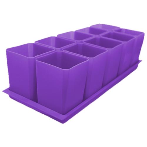 Набор горшков для рассады Пеликан 10 шт, 750 мл Фиолетовый