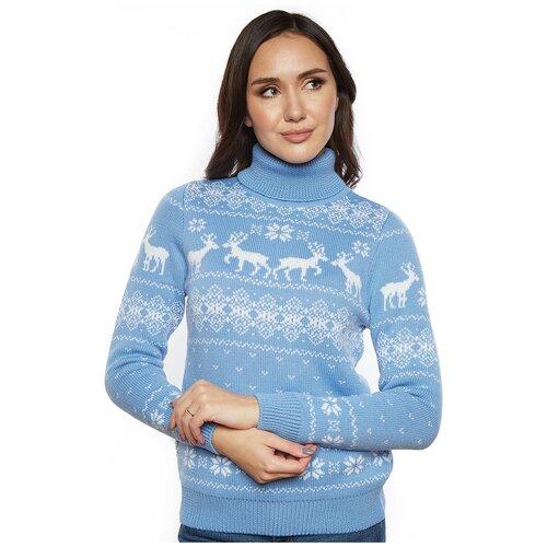 Шерстяной свитер, классический скандинавский орнамент с Оленями и снежинками, натуральная шерсть, голубой цвет, размер S
