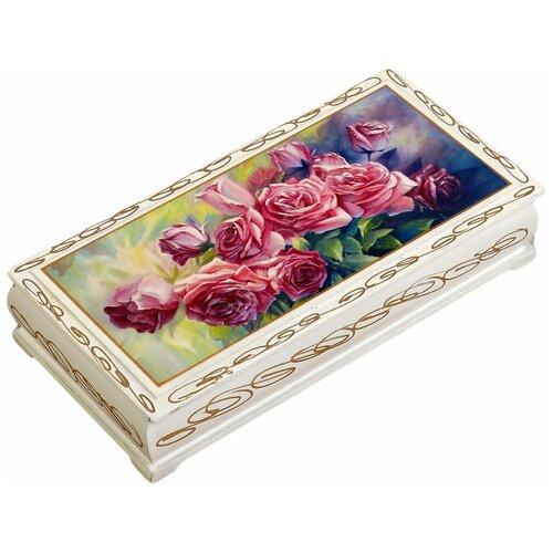 Шкатулка - купюрница «Розы», белая, 8,5×17 см, лаковая миниатюра 3696413 по цене 492