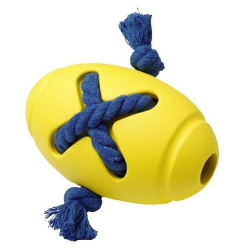 HOMEPET SILVER SERIES Ф 8 см х 12,7 см игрушка для собак мяч регби с канатом желтый каучук