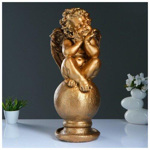 Фигура Ангел на шаре большой бронза 22х22х65см фигура ангел спящий на шаре белый 15х19х40см 951205