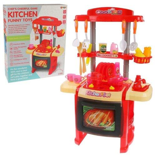 Кухня Наша Игрушка (красная), стойка и 29 аксессуаров, свет, звук (CK14500)