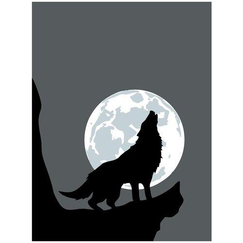 Купить Картина по номерам Минимализм - Волк под луной, 80 х 100 см, Красиво Красим, Картины по номерам и контурам