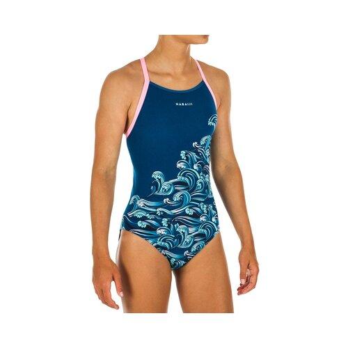 Купить Купальник слитный для девочек Jade Wave, размер: 131-140 CM 8-9, цвет: Бензиново-Синий NABAIJI Х Декатлон, Decathlon, Белье и купальники