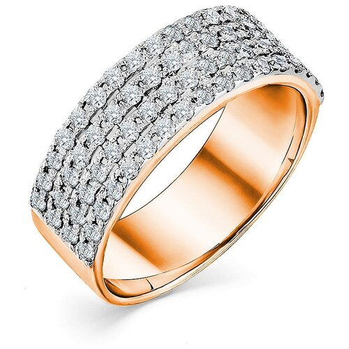 Мастер Бриллиант Кольцо с 68 бриллиантами из красного золота 1-107-529, размер 16.5