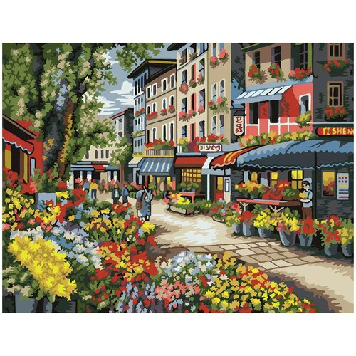 Картина по номерам Цветочный рынок, 50 х 70 см, Красиво Красим, Картины по номерам и контурам  - купить со скидкой