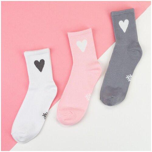 Носки Kaftan Сердечко 5189696, 3 пары, размер 23-25 см (37-39), белый/розовый/серый