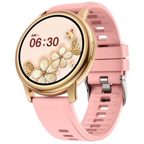 Смарт часы женские Lemfo LF28 M (фитнес трекер, центр сообщений, пульсометр, тонометр, оксиметр, монитор сна, будильник, секундомер, управление плеером, управление камерой, влагозащита, женский календарь, напоминания, погода) золотистый