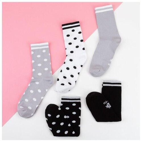 Носки Kaftan Горох 5189704, 5 пар, размер 23-25 см (37-39), белый/серый/черный