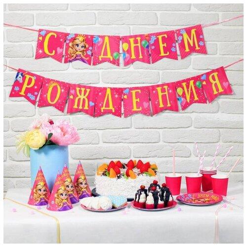 Набор бумажной посуды Страна Карнавалия С Днем Рождения, принцесса (2451128) страна карнавалия набор бумажной посуды с днем рождения маленький джентельмен 3877347 19 шт голубой
