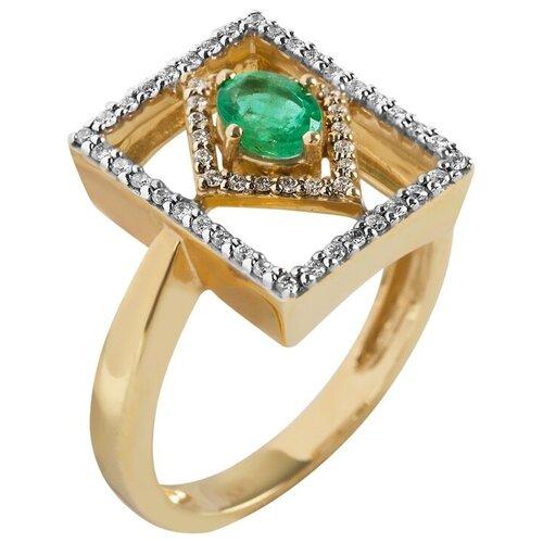 Yvel Кольцо с изумрудом и бриллиантами из жёлтого золота 00346595, размер 17 sargon jewelry кольцо с бриллиантами и изумрудом из жёлтого золота r1311 2010 размер 17 5