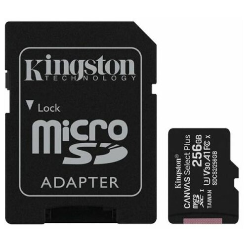 Фото - Карта памяти microSDXC Kingston Canvas Select Plus 256 ГБ Class 10 с SD адаптером карта памяти 512gb kingston canvas select plus microsdxc u