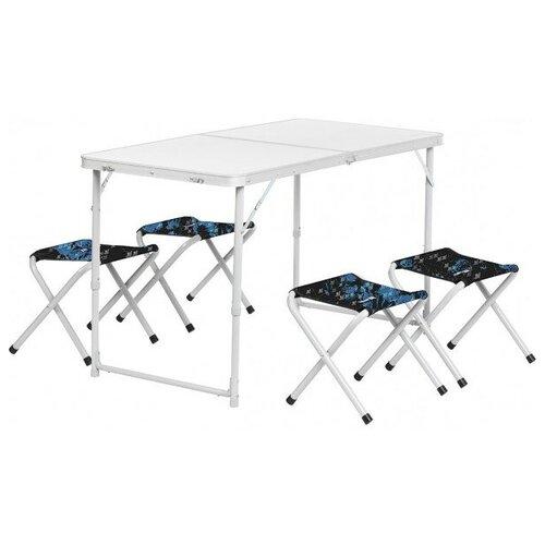 Nisus Набор мебели (алюм), стол+4табурета (21407+21124) SHARK (N-FS-21407+21124AS) NISUS (пр-во ГК Тонар) недорого