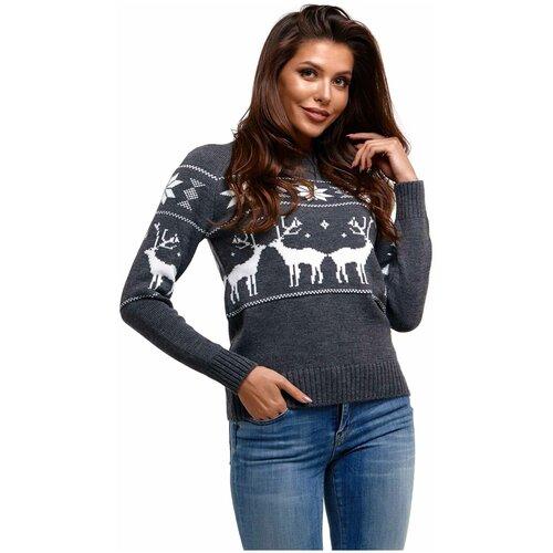 Новогодний свитер, классический скандинавский орнамент с Оленями и снежинками, натуральная шерсть, серый цве, размер M