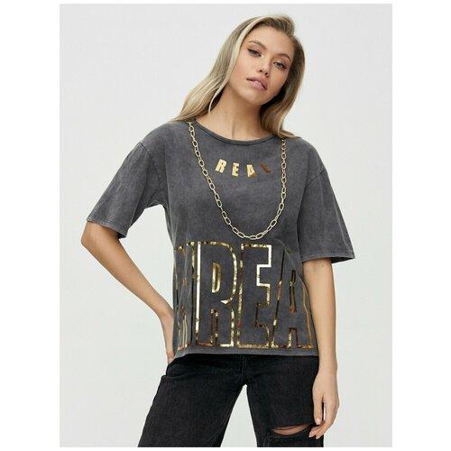 Женские футболки с надписями Серый, 42