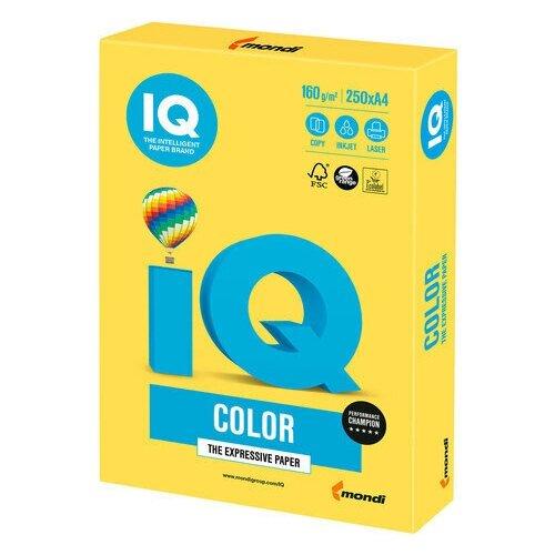 Фото - Бумага цветная IQ color, А4, 160 г/м2, 250 л., интенсив, канареечно-желтая, CY39 бумага цветная iq color а4 160 г м2 100 л 5 цветов x 20 листов микс интенсив rb02