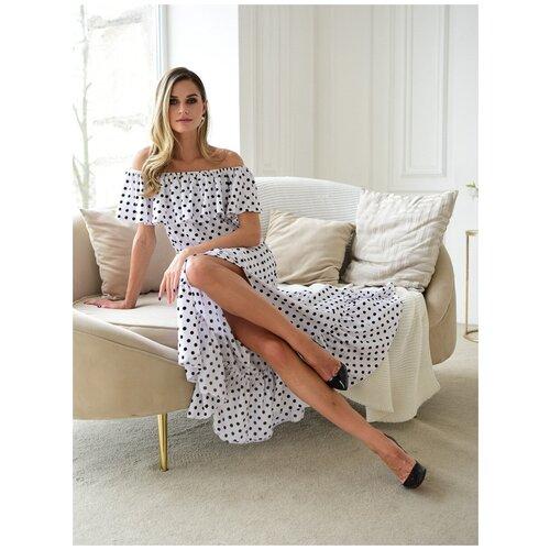 Платье сарафан в горох, открытые плечи с воланом, юбка колокольчик с воланом, белый цвет, размер L