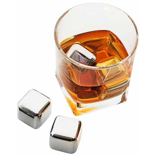 Стальные кубики для вина/ Многоразовый лед/Кубики для виски/ Кубики лёд для охлаждения/ Охлаждающие камни для виски, набор 4 шт.