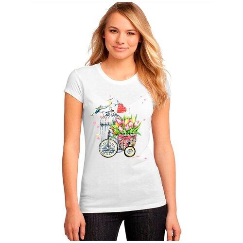 Женская белая футболка клетка, тюльпаны, велосипед. Размер XL