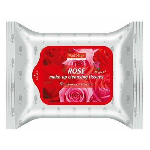 PUREDERM Салфетки для снятия макияжа с экстрактом розы